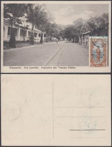 French Equatorial Africa 1920s Used stamp on postcard ( Brazzaville ), Rue la...