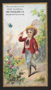 VICTORIAN TRADE CARD J Wanamaker & Co Boy's Clothiers
