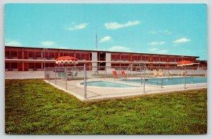 Pulaski Tennessee~Sands Motor Hotel Swimming Pool~Swing Set Behind~1950s