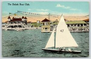 Duluth Minnesota~Boat Club~Sailing Yacht No 47~Judges Stand~Pennants Flying~1908