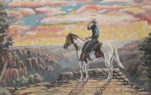Western Sunset - Cowboy on Horse - Artist L. H. Dude Larsen - pm 1944 - Linen
