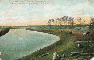 Postcard Fox River Near Milwaukee Wisconsin