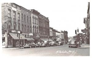 Hillsdale MI Street View Store Fronts Sealtest Ice Cream Old Cars RPPC Postcard