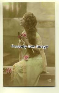 su1840 - Young Woman with Blue and Pink Costume &  Long Loose Hair -  postcard