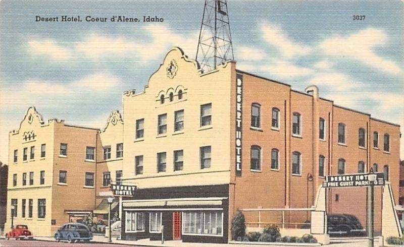 Coeur d Alene Idaho~Art Deco Desert Hotel~1940s Postcard
