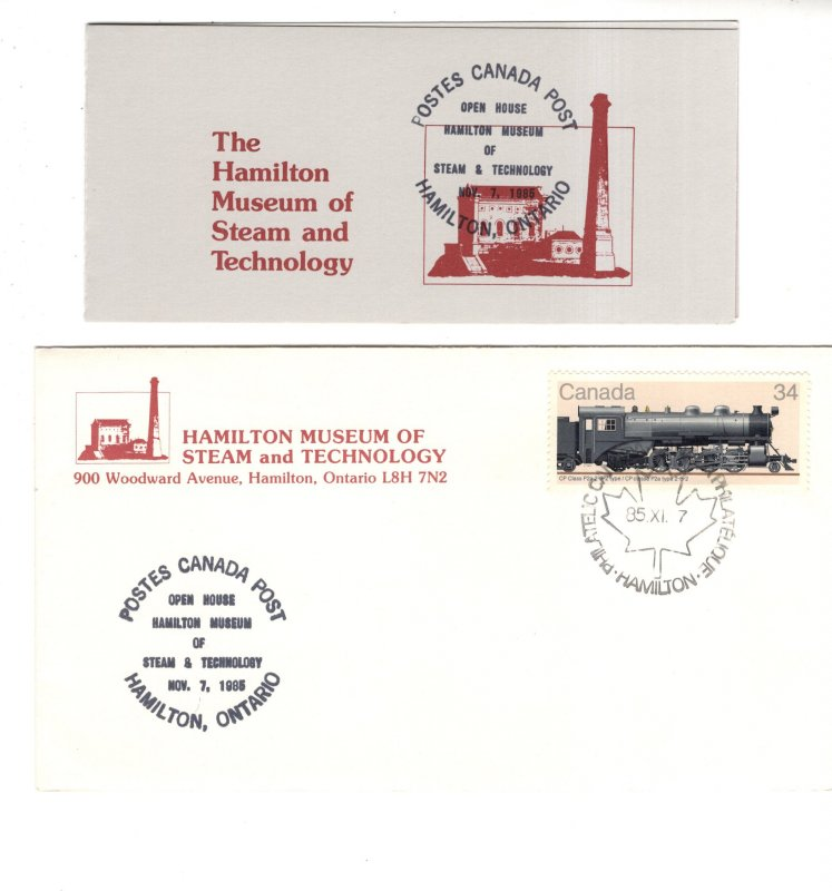 Hamilton Museum Steam, Technology Open House 1985, Canada FDC, Stamp Booklet Set