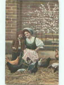 Unused Pre-Linen foreign EUROPEAN BOY WITH MOM STANDING BY THE CHICKENS J4295