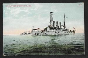 United States Battleship Rhode Island unused c1910