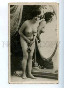 206665 NUDE Woman near MIRROR w/ ROSES Vintage LEO #74 PC