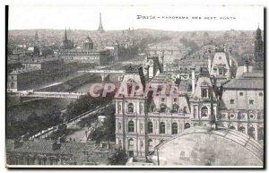 Paris Old Postcard Panorama of the seven bridges