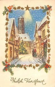 Vrolijk Kerstfeest! Merry Christmas! Snowing Road Scene 1950s
