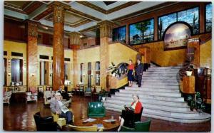 1950s Douglas, Arizona Postcard HOTEL GADSDEN Lobby Scene Roadside Chrome Unused