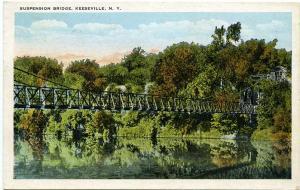 Suspension Bridge - Keeseville, Adirondacks, New York pm 1932