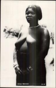 Africa Zulu Maiden Ethnography Black Woman Nude Real Photo Postcard