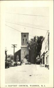 Warren RI Baptist Church & Street Postcard