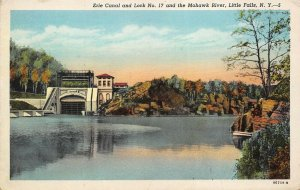 Little Falls New York 1920s Postcard Erie Canal & Lock No. 17 and Mohawk River