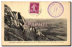 Old Postcard Chateau Chinon Les Rochers du Vieux Chateau and the valley of th...