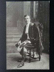 Scotland Portrait of Gentleman in Tartan & Kilt - Old Postcard