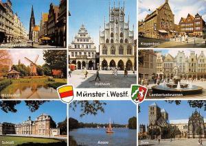 Germany Muenster, Rathaus Aasee Schloss Dom Lamber