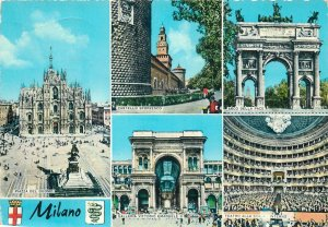 Postcard Italy Greetings from Milan arc castle  theater