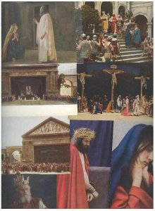 pc2737 postcard Oberammergau 1922 EIGHT Different MOBSC Not used.