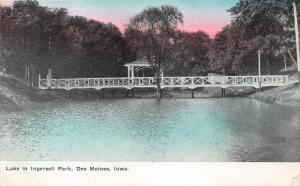 Des Moines Iowa~Ingersoll Park Lake~Pavilion on Bridge~c1910 Tinted Sky Pc