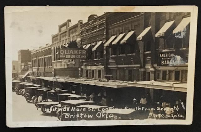 West Side Main Street Bristow Okla Real Photo Post Card
