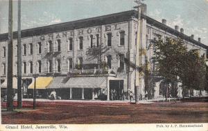 Janesville Wisconsin~Grand Hotel~Lady & Shopkeeper~Barber Pole~1909 Postcard