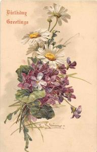 Birthday Greetings White and Purple Flowers Signed Klein Postcard J52282