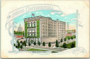 Washington DC Postcard HOTEL CONTINENTAL Union Station Plaza Kropp c1940s