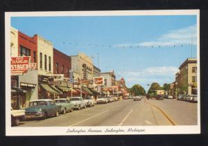 LUDINGTON MICHIGAN DOWNTOWN MAIN STREET SCENE 1950's CARS VINTAGE POSTCARD