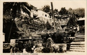 PC CPA MALAYSIA, PENANG, AIER ITAM TEMPLE, VINTAGE REAL PHOTO POSTCARD (b1270)
