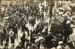 Busy Street Scene - Carnival? Milford IN Cancel 1910 Real Photo Postcard
