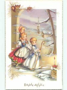 foreign Old Postcard FRENCH GIRL GIVES PIGGYBACK RIDE IN FOLLOWS ANGEL AC3035