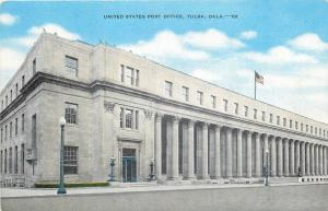 Tulsa Oklahoma~Long United States Post Office~1940s Linen Postcard