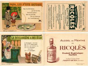 PUBLICITÉS ADVERTISING 14 TRADE CARDS RIOLES ALCOHOL DRINKS