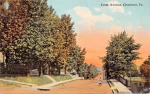 CHARLEROI PENNSYLVANIA~CREST AVENUE-BOYS DOUBLING ON BICYCLE POSTCARD 1910s
