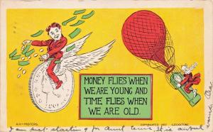 MONEY FLIES WHEN YOUNG~TIME FLIES WHEN OLD-ECKSTONE ART-HOT AIR BALLOON POSTCARD