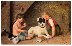 Dog  ,  farm Children with Dog and kittens