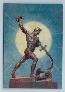 1960 NUDE MUSCUKAR MAN Swords into Plowshares AVANT GARDE USSR Postcard