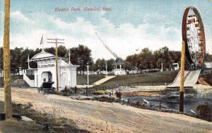 Waterloo Iowa~Electric Amusement Park~Strange Ferris Wheel~Dirt Road~1909 PC