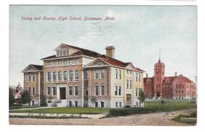 MT Bozeman Irving and County High School 1908 Postcard Brammer Palmer Drug Co