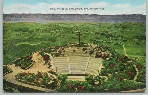San Diego California~Mount Helix~1940s Linen Postcard