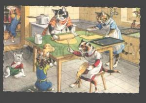 096604 Dressed PUSSY CATS Family on Kitchen KITTEN  Vintage PC