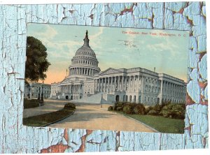 The Capitol, East View, Washington, D.C. Old Vtg Postcard, Scenic, Historic
