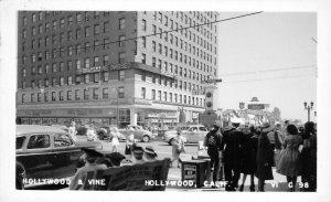 RPPC HOLLYWOOD & VINE Hollywood, CA Street Scene KFWB ca 1940s Vintage Postcard