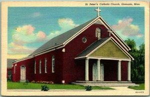 GRENADA, Mississippi Postcard ST. PETER'S CATHOLIC CHURCH Linen w/ 1949 Cancel