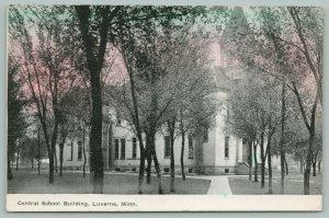Luverne Minnesota~Central School Building~Steeple~Trees~c1910