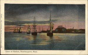 Newburyport MA Harbor Boats Shiny Silver Finish Reichner Bros Postcard c1905