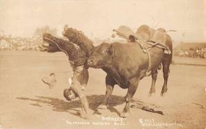 Sharkey Famous Bucking Bull Cowboy Rodeo Doubleday Real Photo Postcard J75624